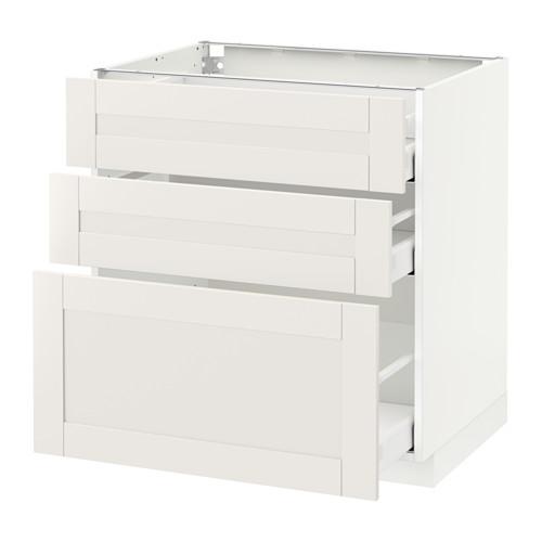 МЕТОД / МАКСИМЕРА Напольный шкаф с 3 ящиками - 80x60 см, Сэведаль белый, белый