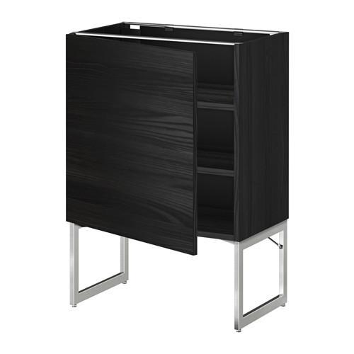 МЕТОД Напольный шкаф с полками - 60x37x60 см, Тингсрид под дерево черный, под дерево черный
