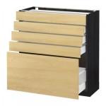 МЕТОД / МАКСИМЕРА Напольный шкаф с 5 ящиками - 80x37 см, Тингсрид под березу, под дерево черный