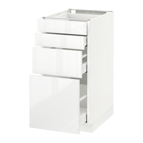 МЕТОД / МАКСИМЕРА Напольн шкаф 4 фронт панели/4 ящика - 40x60 см, Рингульт глянцевый белый, белый