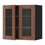 МЕТОД Навесной шкаф с полками/2 стекл дв - 60x60 см, Филипстад коричневый, под дерево черный