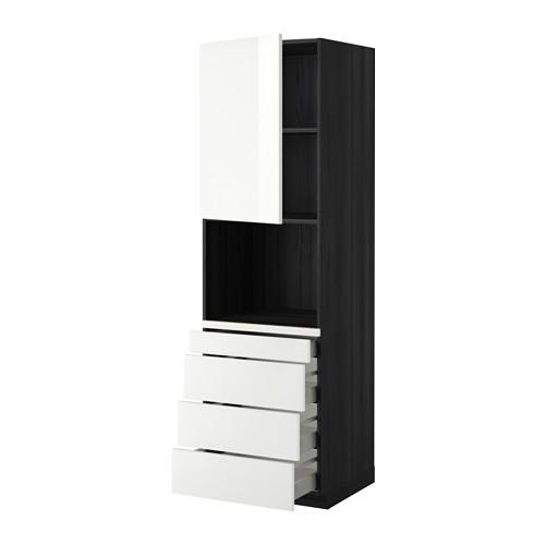 МЕТОД / МАКСИМЕРА Высокий шкаф д/комбинир СВЧ/4 ящика - 60x60x200 см, Рингульт глянцевый белый, под дерево черный