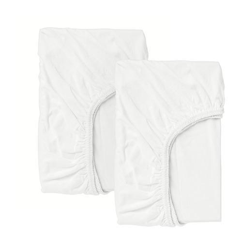 ЛЕН Простыня натяжн для кроватки - белый