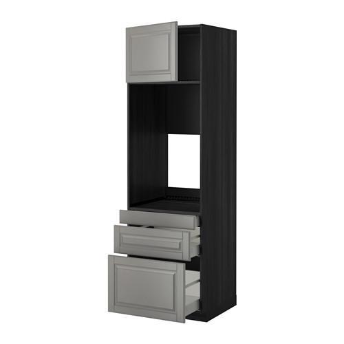 МЕТОД / МАКСИМЕРА Выс шкаф д/двойн духовки/3ящ/дверца - 60x60x200 см, Будбин серый, под дерево черный