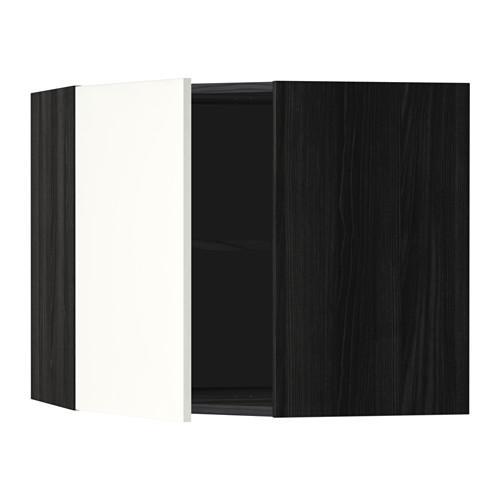 МЕТОД Угловой навесной шкаф с полками - 68x60 см, Хэггеби белый, под дерево черный