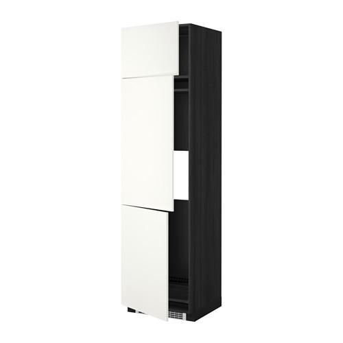 МЕТОД Выс шкаф для хол/мороз с 3 дверями - 60x60x220 см, Хэггеби белый, под дерево черный