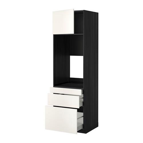 МЕТОД / МАКСИМЕРА Выс шкаф д/двойн духовки/3ящ/дверца - 60x60x200 см, Веддинге белый, под дерево черный