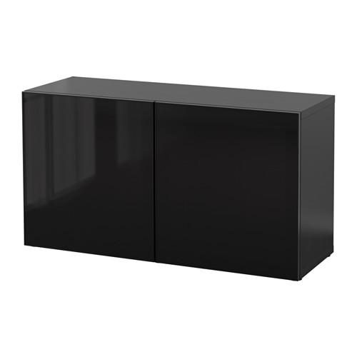 БЕСТО Стеллаж со стеклянн дверьми - черно-коричневый/Глассвик черный/дымчатое стекло