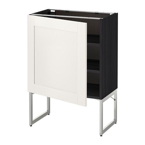 МЕТОД Напольный шкаф с полками - 60x37x60 см, Сэведаль белый, под дерево черный