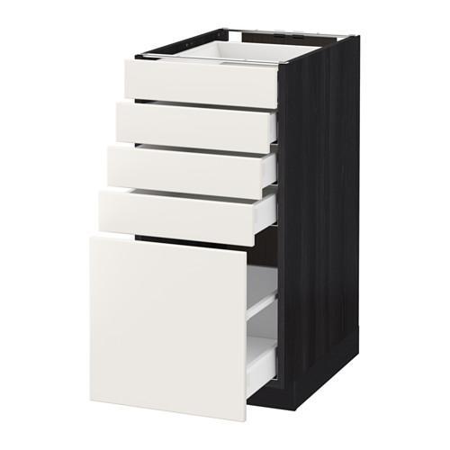 МЕТОД / МАКСИМЕРА Напольный шкаф с 5 ящиками - 40x60 см, Веддинге белый, под дерево черный