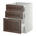 МЕТОД / ФОРВАРА Напольный шкаф с 3 ящиками - 60x60 см, Эдсерум под дерево коричневый, белый