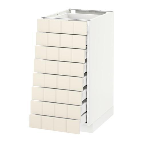 МЕТОД / МАКСИМЕРА Наполн шкаф 8 фронт/8 низк ящиков - 40x60 см, Хитарп белый с оттенком, белый