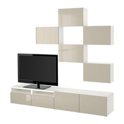 Tv Meubel In Wit Hoogglans.Besta Kast Voor Tv Combinatie Wit Selsviken Glanzend Beige