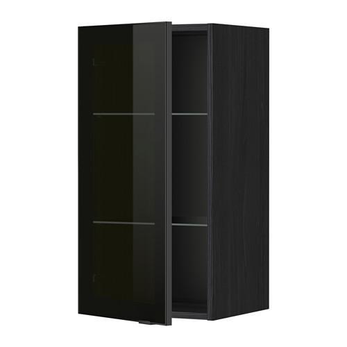 МЕТОД Навесной шкаф с полками/стекл дв - 40x80 см, Ютис дымчатое стекло/черный, под дерево черный