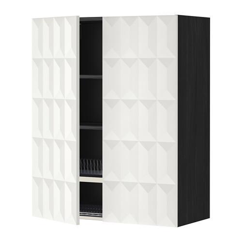 МЕТОД Навесной шкаф с посуд суш/2 дврц - 80x100 см, Гэррестад белый, под дерево черный