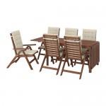 ÄPPLARÖ стол+6кресел,д/сада коричневая морилка/Холло бежевый
