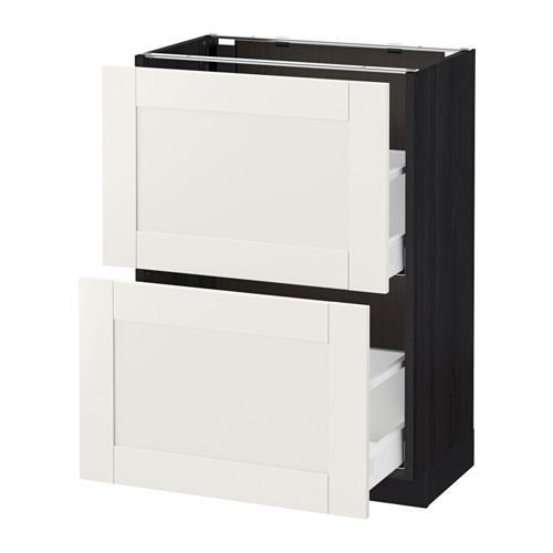 МЕТОД / МАКСИМЕРА Напольный шкаф с 2 ящиками - 60x37 см, Сэведаль белый, под дерево черный