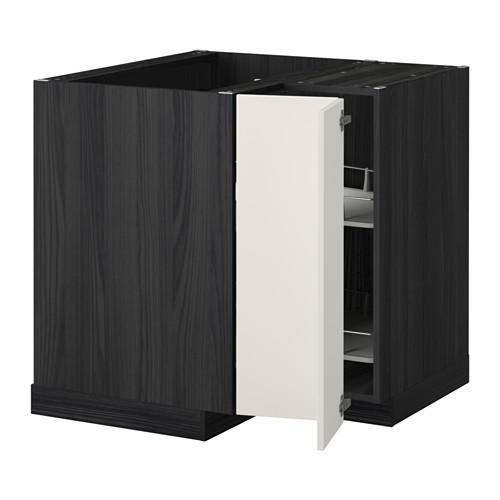 МЕТОД Угл напольн шкаф с вращающ секц - Веддинге белый, под дерево черный