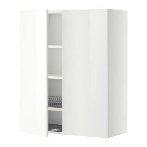 МЕТОД Навесной шкаф с посуд суш/2 дврц - 80x100 см, Рингульт глянцевый белый, белый