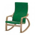 Poeng chaise à bascule - Sandbakka vert, placage de chêne