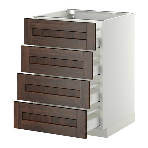 МЕТОД / МАКСИМЕРА Напольн шкаф 4 фронт панели/4 ящика - 60x60 см, Эдсерум под дерево коричневый, белый