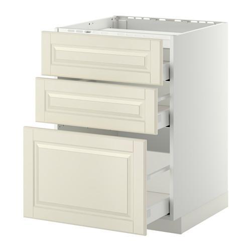 МЕТОД / МАКСИМЕРА Напольн шкаф/3фронт пнл/3ящика - 60x60 см, Будбин белый с оттенком, белый