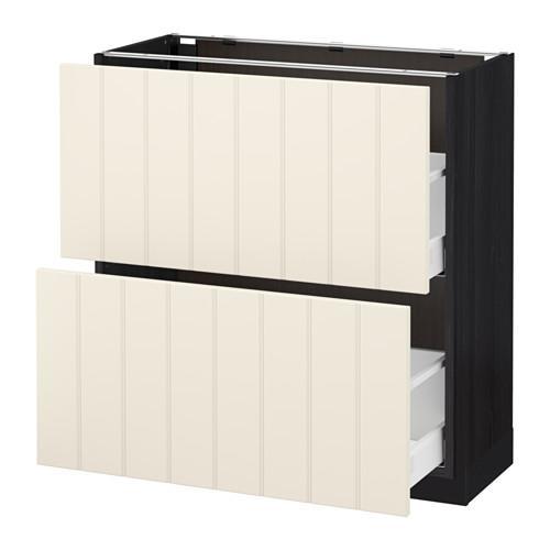 МЕТОД / МАКСИМЕРА Напольный шкаф с 2 ящиками - 80x37 см, Хитарп белый с оттенком, под дерево черный
