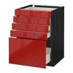 МЕТОД / ФОРВАРА Напольный шкаф с 5 ящиками - 60x60 см, Рингульт глянцевый красный, под дерево черный