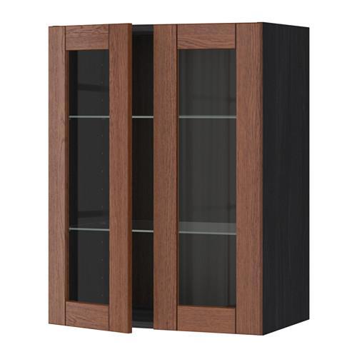 МЕТОД Навесной шкаф с полками/2 стекл дв - 60x80 см, Филипстад коричневый, под дерево черный