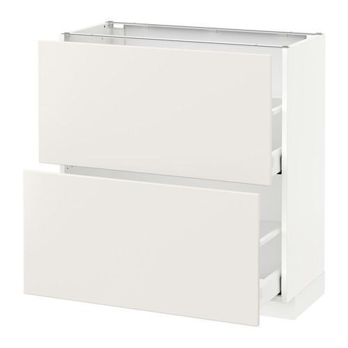 МЕТОД / МАКСИМЕРА Напольный шкаф с 2 ящиками - 80x37 см, Веддинге белый, белый