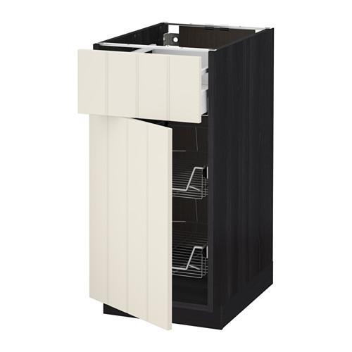 МЕТОД / МАКСИМЕРА Напольн шкаф с пров корз/ящ/дверью - 40x60 см, Хитарп белый с оттенком, под дерево черный