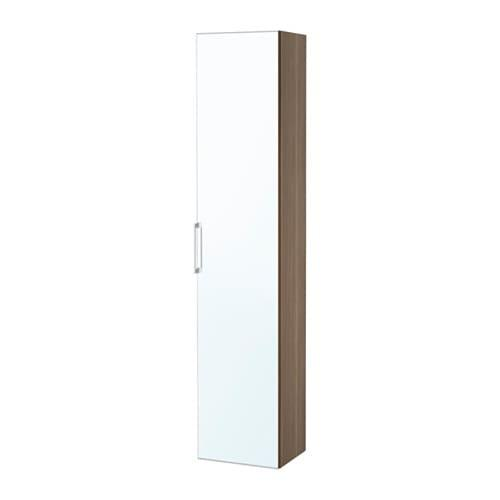 ГОДМОРГОН Высокий шкаф с зеркальной дверцей - под грецкий орех
