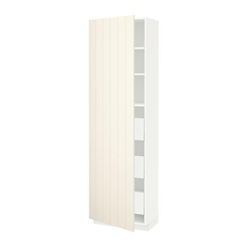 МЕТОД / МАКСИМЕРА Высокий шкаф с ящиками - 60x37x200 см, Хитарп белый с оттенком, белый