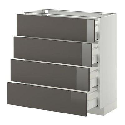 МЕТОД / МАКСИМЕРА Напольн шкаф 4 фронт панели/4 ящика - 80x37 см, Рингульт глянцевый серый, белый