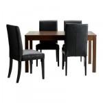 БЬЮРСТА/ХЕНРИКСДАЛЬ Стол и 4 стула - , коричнево-чёрный/Робуст черный, 140 см