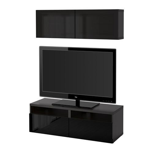 bessto schrank f r tv kombiniert glast ren schwarz braun selsviken gl nzend schwarz. Black Bedroom Furniture Sets. Home Design Ideas