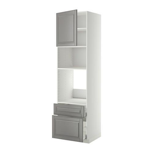 МЕТОД / МАКСИМЕРА Высок шкаф д/духовки/СВЧ/дверца/2ящ - 60x60x220 см, Будбин серый, белый