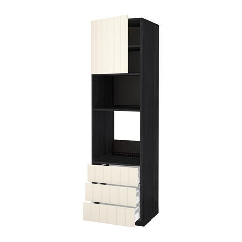 МЕТОД / МАКСИМЕРА Высок шкаф д/духовки/СВЧ/дверца/3ящ - 60x60x220 см, Хитарп белый с оттенком, под дерево черный