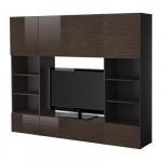 БЕСТО Шкаф для ТВ, комбинация - черно-коричневый рисунок бамбука/глянцевый/коричневый