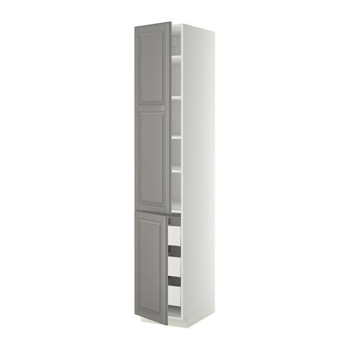 МЕТОД / МАКСИМЕРА Высокий шкаф+полки/3 ящика/2 дверцы - 40x60x220 см, Будбин серый, белый