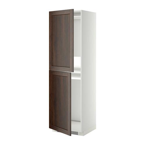 МЕТОД Высок шкаф д холодильн/мороз - 60x60x200 см, Эдсерум под дерево коричневый, белый