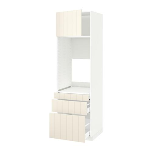 МЕТОД / МАКСИМЕРА Выс шкаф д/двойн духовки/3ящ/дверца - белый, Хитарп белый с оттенком, 60x60x200 см
