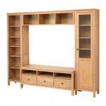 ХЕМНЭС Шкаф для ТВ, комбинация - светло-коричневый
