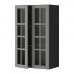 МЕТОД Навесной шкаф с полками/2 стекл дв - 60x100 см, Будбин серый, под дерево черный