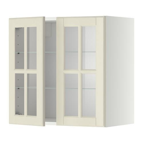 МЕТОД Навесной шкаф с полками/2 стекл дв - 60x60 см, Будбин белый с оттенком, белый