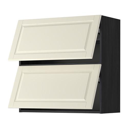 МЕТОД Навесной шкаф/2 дверцы, горизонтал - 80x80 см, Будбин белый с оттенком, под дерево черный