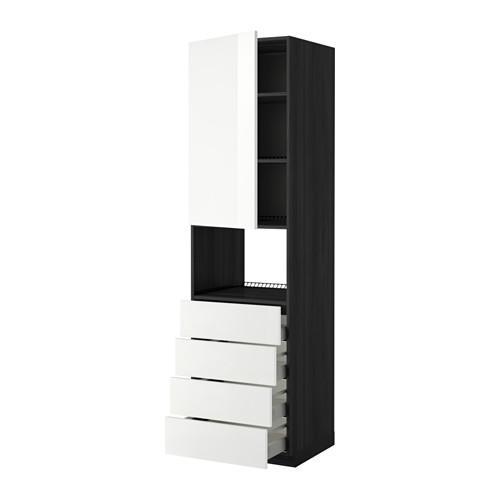МЕТОД / МАКСИМЕРА Высок шкаф д/духовки/дверца/4ящика - 60x60x220 см, Рингульт глянцевый белый, под дерево черный
