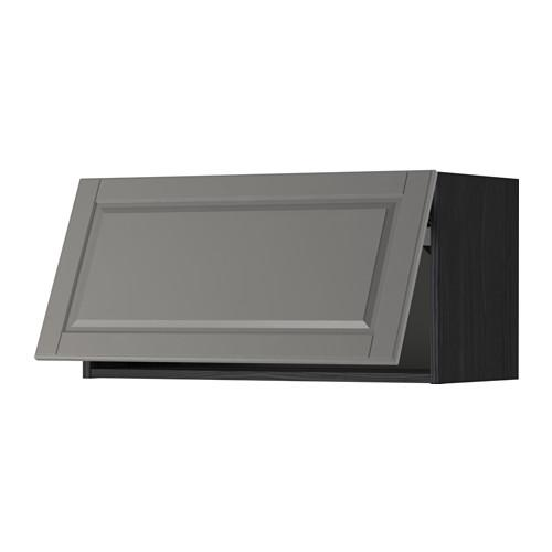 МЕТОД Горизонтальный навесной шкаф - 80x40 см, Будбин серый, под дерево черный