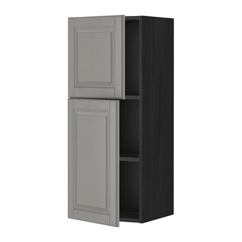 МЕТОД Навесной шкаф с полками/2дверцы - 40x100 см, Будбин серый, под дерево черный