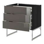 METHOD / wk MAKSIMERA NPAP FRNT 3 / 3 middle drawer - 80x60x60 cm Ringult glossy gray, black wood